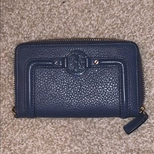Tory Burch Mid Size Wallet ZIP Coin Leather Navy